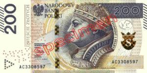 Billet 200 Zloty Pologne PLN Type II recto