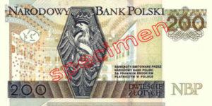 Billet 200 Zloty Pologne PLN Type II verso