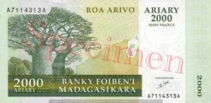 Billet 2000 Ariary Madagascar MGA 2003 recto