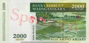 Billet 2000 Ariary Madagascar MGA 2003 verso