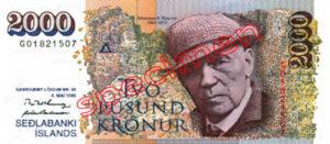 Billet 2000 Couronnes Islande ISK