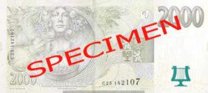 Billet 2000 Couronnes Rep Tcheque CZK verso