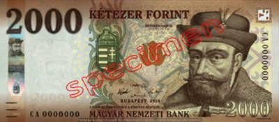 Billet 2000 Forint Hongrie HUF 2016 recto