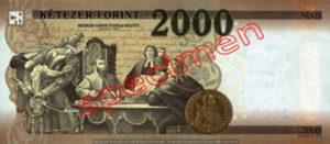 Billet 2000 Forint Hongrie HUF 2016 verso