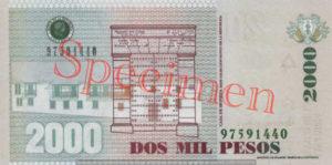 Billet 2000 Pesos Colombie COP 2006 verso