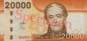 Billet 20000 Peso Chili CLP recto
