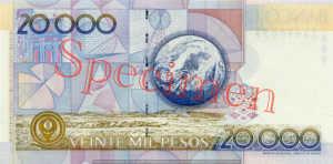 Billet 20000 Pesos Colombie COP 1996 verso