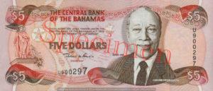 Billet 5 Dollar Bahamas BSD 1995 recto