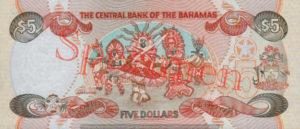 Billet 5 Dollar Bahamas BSD 1995 verso