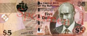 Billet 5 Dollar Bahamas BSD 2007 recto