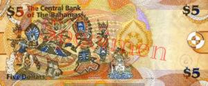 Billet 5 Dollar Bahamas BSD 2007 verso