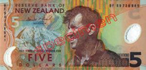 Billet 5 Dollar Nouvelle Zelande NZD Serie 6 recto