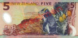 Billet 5 Dollar Nouvelle Zelande NZD Serie 6 verso
