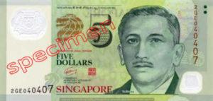 Billet 5 Dollar Singapour SGD 4ème Série IV recto