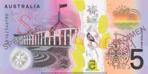 Billet 5 Dollars Australie AUD verso