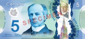 Billet 5 Dollars Canada CAD recto
