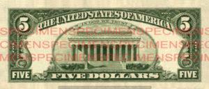 Billet 5 Dollars Etats-Unis USD