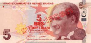 Billet 5 Livre Turquie TRY Type I recto