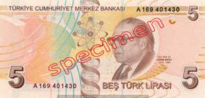 Billet 5 Livre Turquie TRY Type I verso