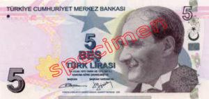 Billet 5 Livre Turquie TRY Type II recto