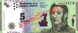 Billet 5 Pesos Argentine ARS Type I recto