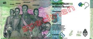 Billet 5 Pesos Argentine ARS Type I verso