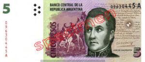 Billet 5 Pesos Argentine ARS Type II recto