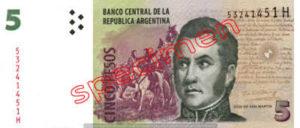 Billet 5 Pesos Argentine ARS Type III recto