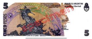 Billet 5 Pesos Argentine ARS Type III verso