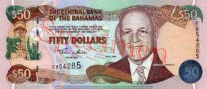 Billet 50 Dollar Bahamas BSD 2000 recto