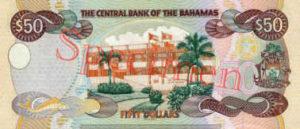 Billet 50 Dollar Bahamas BSD 2000 verso