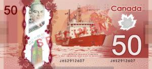 Billet 50 Dollars Canada CAD recto