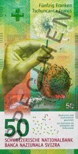 Billet 50 Francs CHF Suisse 2017