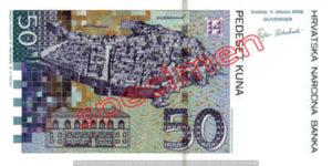 Billet 50 Kuna Croatie HRK versso