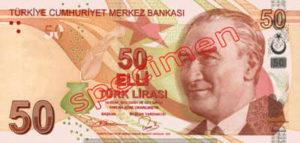 Billet 50 Livre Turquie TRY recto