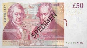 Billet 50 Livres Sterling Pounds GBP r