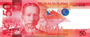 Billet 50 Peso Philippines PHP recto