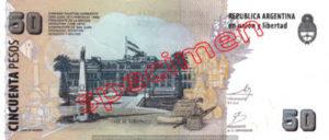 Billet 50 Pesos Argentine ARS Type I verso