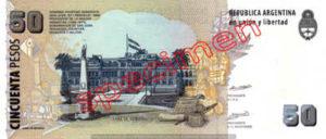 Billet 50 Pesos Argentine ARS Type II verso
