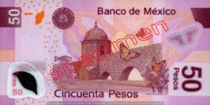 Billet 50 Pesos Mexique MXN Type I verso