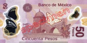 Billet 50 Pesos Mexique MXN Type II verso