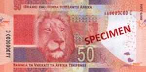 Billet 50 Rand Sud-Afrique ZAR verso