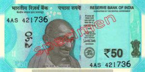Billet 50 Roupie Inde INR