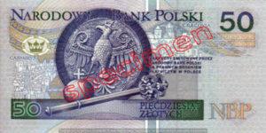 Billet 50 Zloty Pologne PLN Type I verso