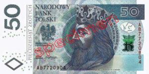 Billet 50 Zloty Pologne PLN Type II recto