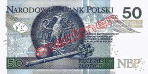 Billet 50 Zloty Pologne PLN Type II verso