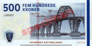 Billet 500 Couronnes Danemark DKK recto