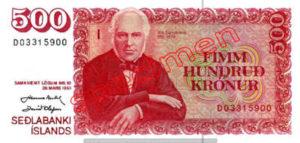 Billet 500 Couronnes Islande ISK
