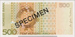 Billet 500 Couronne Norvégienne NOK Serie VII verso