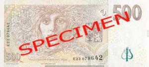 Billet 500 Couronnes Rep Tcheque CZK verso